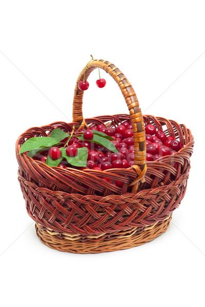 basket with ripe cherries isolated on white Stock photo © Photocrea