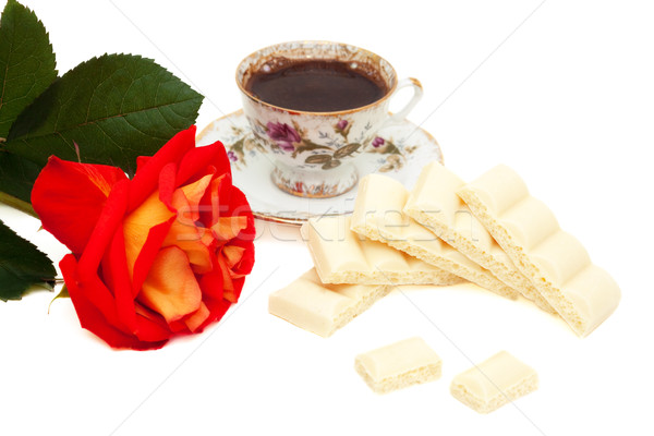 white chocolate, rose and a cup of coffee Stock photo © Photocrea