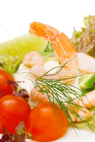 Healthy salad of shrimp, mixed greens and tomatoes. Stock photo © Photocrea