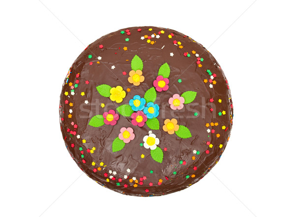 chocolate birthday colorful cake with flowers and confetti Stock photo © Photocrea