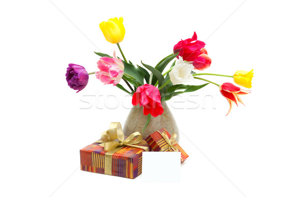 bouquet of tulips in a vase, gifts and greeting card Stock photo © Photocrea