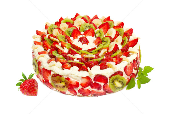 Fruitcake aardbeien kiwi vruchten geïsoleerd witte Stockfoto © Photocrea
