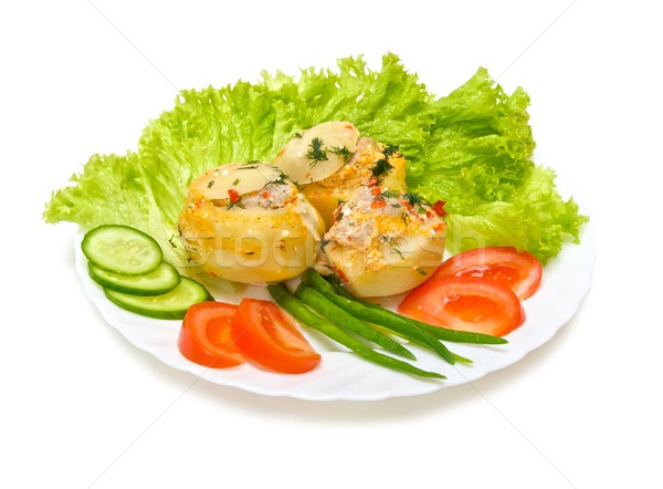 Potatoes stuffed with minced meat with vegetables isolated on white Stock photo © Photocrea
