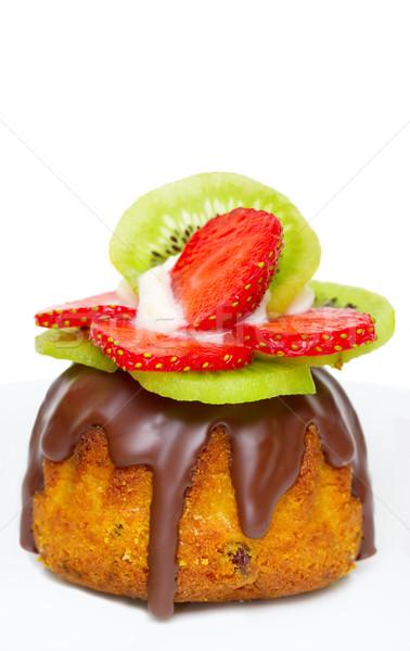 fruit cake with strawberries and kiwi fruit isolated on white Stock photo © Photocrea