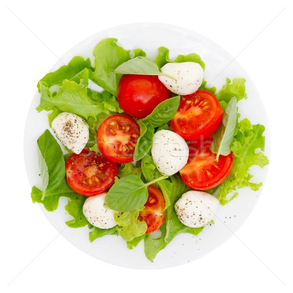 Caprese salatası yalıtılmış beyaz peynir akşam yemeği plaka Stok fotoğraf © Photocrea