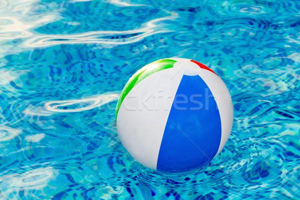 Multi colored Beach ball in swimming pool Stock photo © Photocrea