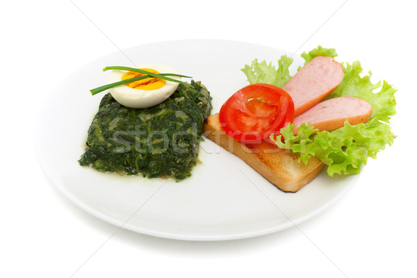sauteed spinach, egg and sandwich for breakfast isolated on whit Stock photo © Photocrea