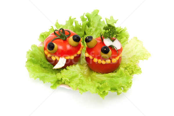 Louco comida tomates recheado salada de frango milho Foto stock © Photocrea