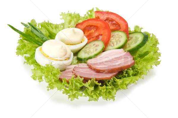 Snack from the egg, mayonnaise, smoked bacon and vegetables  isolated on white Stock photo © Photocrea
