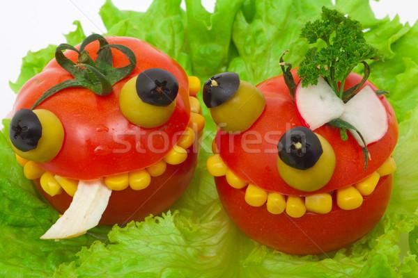 クレイジー 食品 トマト 詰まった チキンサラダ トウモロコシ ストックフォト © Photocrea