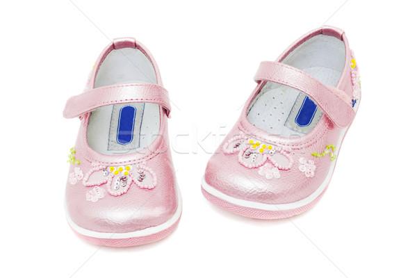 Rózsaszín cipők lánycsecsemők izolált fehér szépség Stock fotó © Photocrea