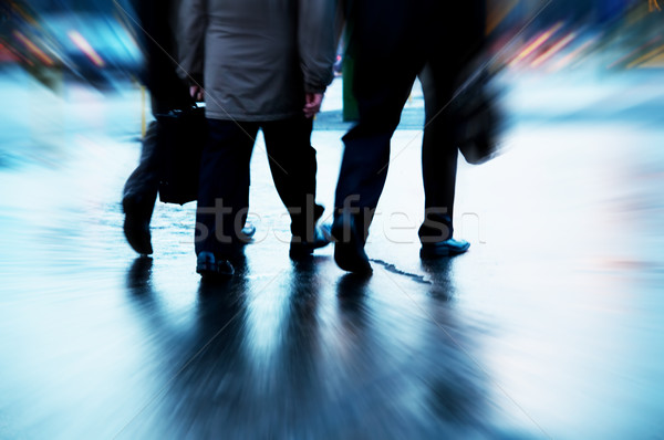 Meşgul iş adamları yürüyüş hareket bulanık iş Stok fotoğraf © photocreo