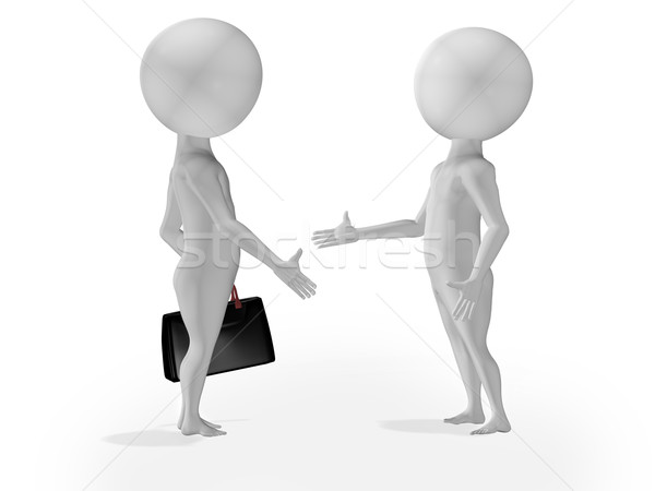 Stock photo: 3d little people business deal