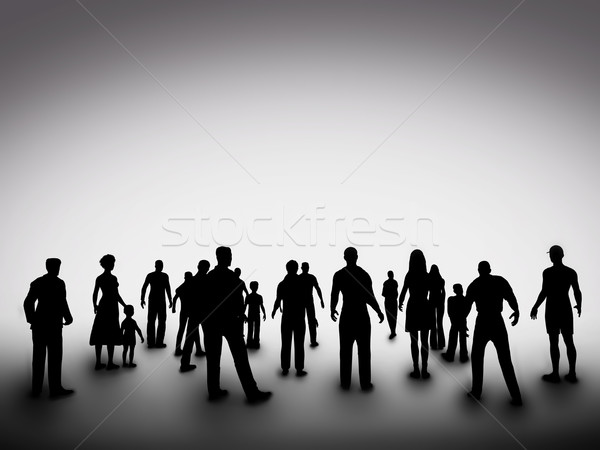 Group of various people silhouettes. Society, community, diversity Stock photo © photocreo
