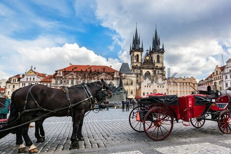 Prague old city square, Tyn Church Stock photo © photocreo