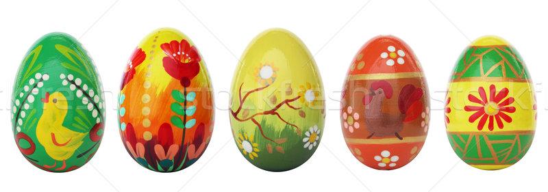 Kéz festett húsvéti tojások izolált fehér tavasz Stock fotó © photocreo