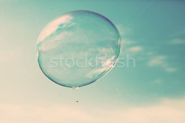 Egy tiszta szappanbuborék repülés levegő kék ég Stock fotó © photocreo