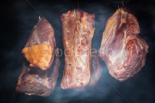 Carne de porco carne enforcamento fumar fumado presunto Foto stock © photocreo