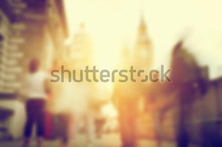 Mensen haast drukke straat Londen Blur Stockfoto © photocreo