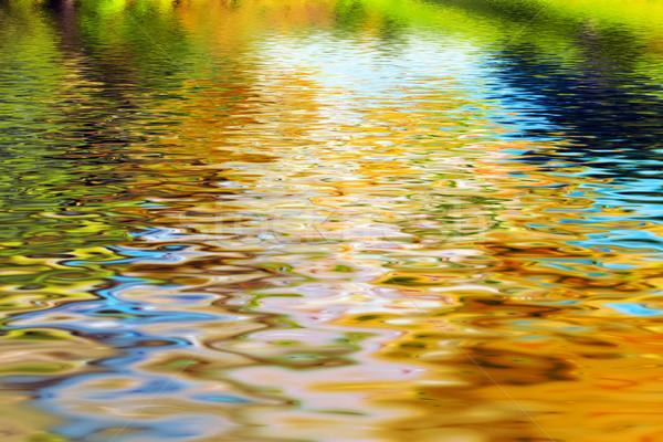 Tükröződés fák tiszta víz hullámok víz textúra Stock fotó © photocreo