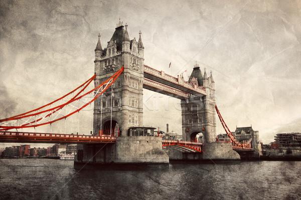 Tower Bridge Londra İngiltere bağbozumu stil artistik Stok fotoğraf © photocreo