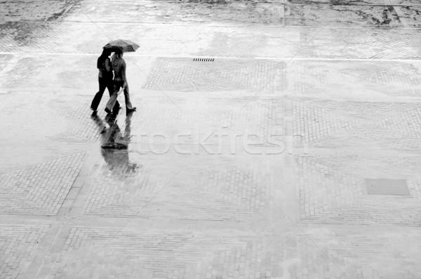 только дождь две женщины зонтик ходьбе воды Сток-фото © photocreo