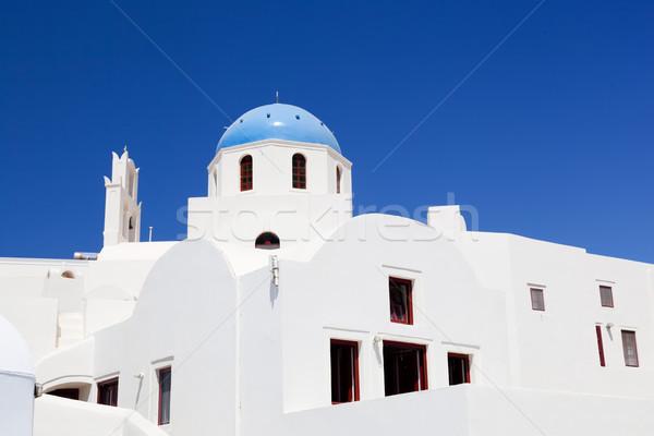 Bianco edifici chiesa blu cupola santorini Foto d'archivio © photocreo