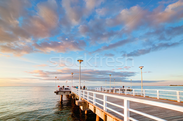 Beautiful retro pier at sunset. Gdansk Brzezno, Poland Stock photo © photocreo