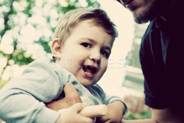 Zoon vader gelukkig samen jeugd Stockfoto © photocreo