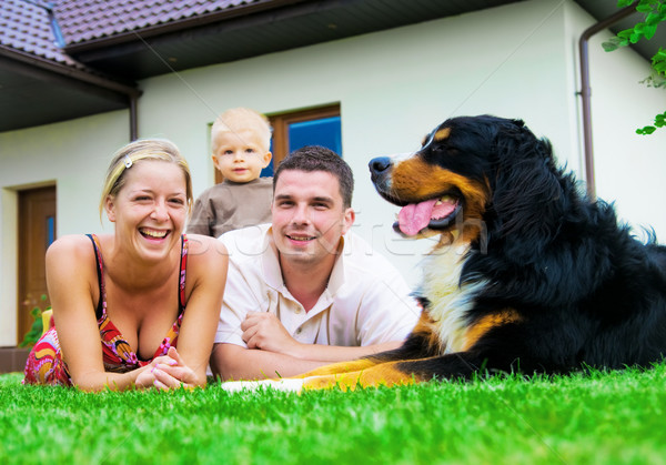 Mutlu aile ev gülümseme köpek adam sağlık Stok fotoğraf © photocreo