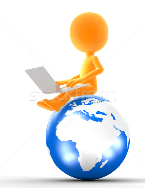 Gold man sitting on the globe with laptop Stock photo © photocreo