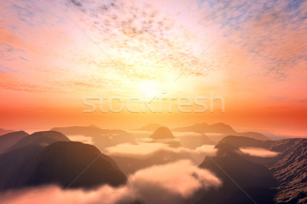 View from above clouds on mountains and sunset sky Stock photo © photocreo