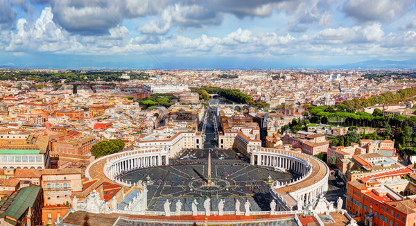 St. Peter's Square, Piazza San Pietro in Vatican City. Rome, Italy in the background Stock photo © photocreo