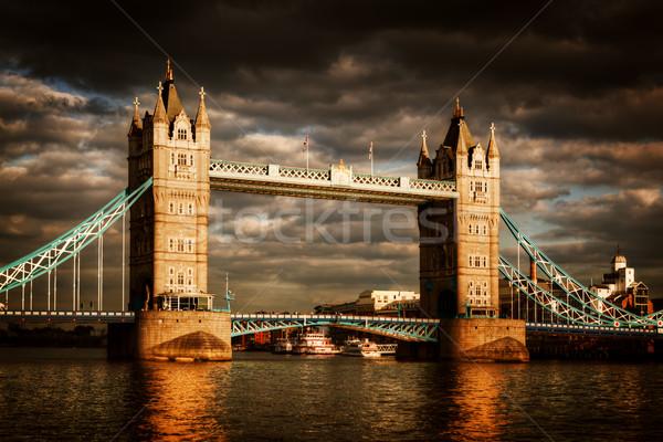 Stok fotoğraf: Tower · Bridge · Londra · dramatik · fırtınalı · yağmurlu · bulutlar