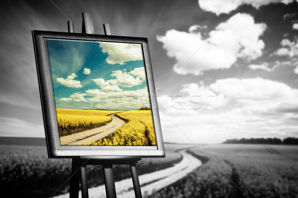 Landscape picture painted on canvas against black and white field Stock photo © photocreo