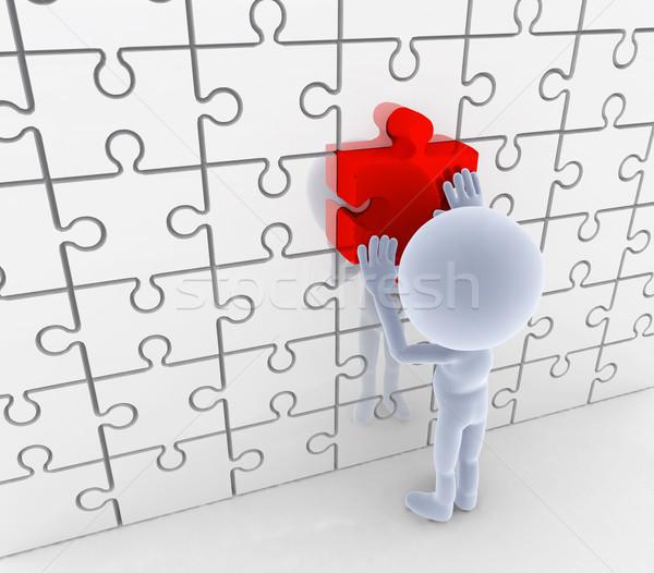 Puzzle fűrész összeillő megoldás ötlet fogalmak Stock fotó © photocreo