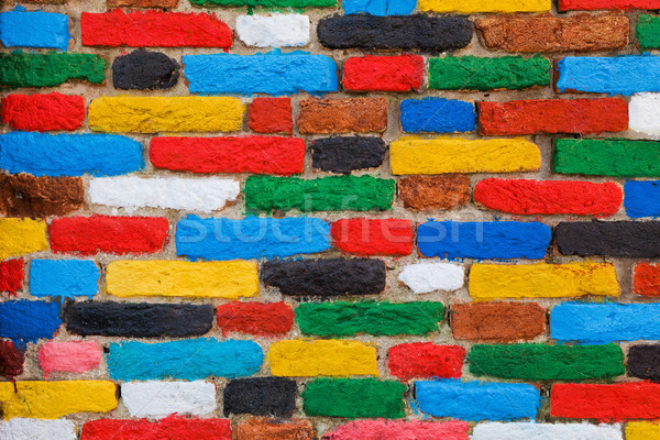 Colorato muro di mattoni unico pattern design sfondo Foto d'archivio © photocreo