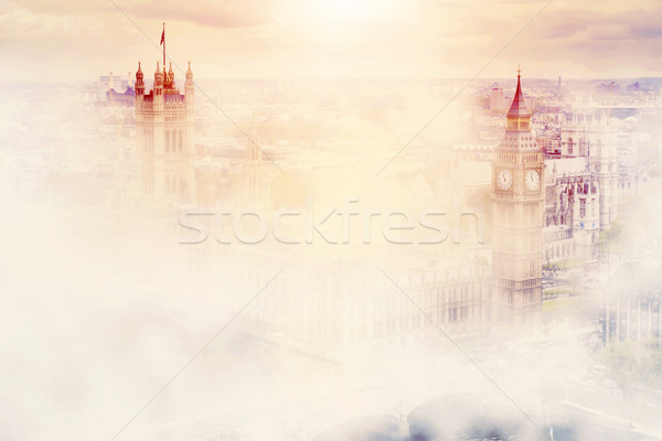 Big Ben, the Palace of Westminster in morning fog. London, UK. Stock photo © photocreo