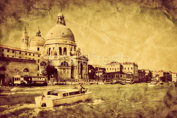 Venice, Italy. Grand Canal and Basilica Santa Maria della Salute. Vintage Stock photo © photocreo