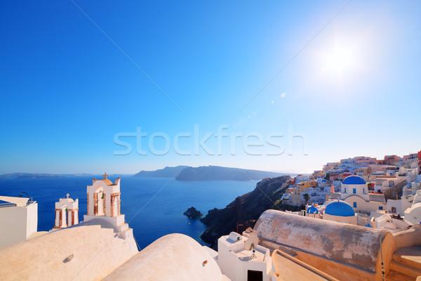 Oia town on Santorini island, Greece. Caldera on Aegean sea. Stock photo © photocreo