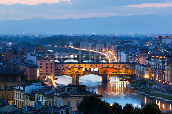 FLORENCE Italie nuit Skyline pont rivière Photo stock © photocreo