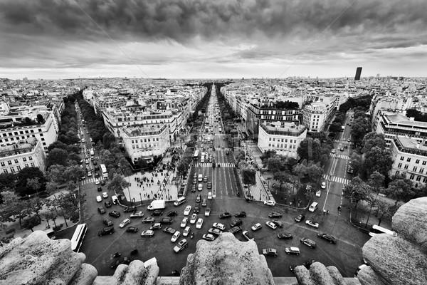 Foto stock: Paris · França · ocupado · ruas · preto · e · branco · linha · do · horizonte