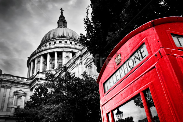 St Paul's Cathedral dome and red telephone booth. London, the UK. Stock photo © photocreo