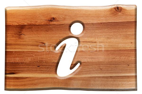 Információ jel szimbólum vág fa deszka izolált fehér Stock fotó © photocreo