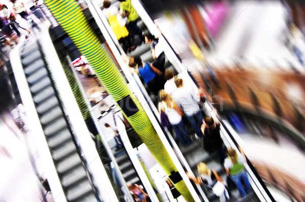 Shopping résumé personnes escalator mouvement Photo stock © photocreo