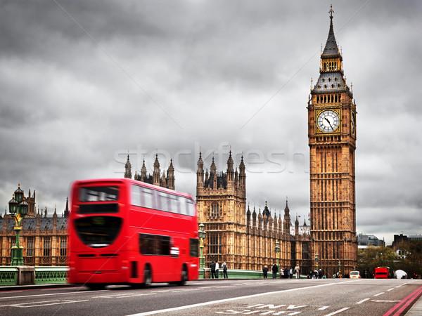 Londres rojo autobús movimiento Big Ben palacio Foto stock © photocreo