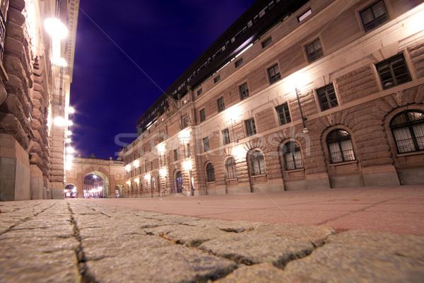 Starówka Sztokholm Szwecja noc niebo domu Zdjęcia stock © photocreo