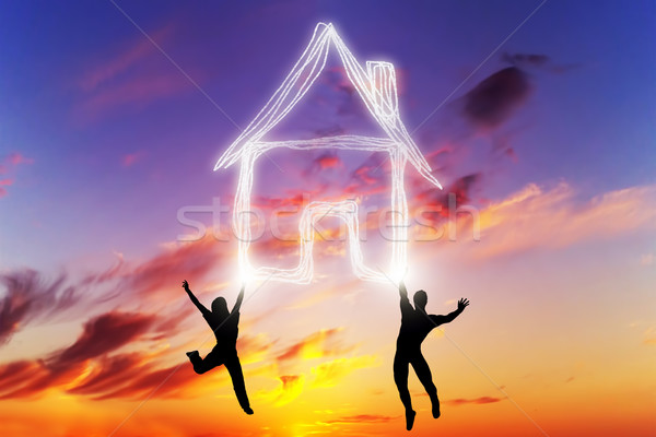 Stockfoto: Paar · springen · huis · symbool · licht