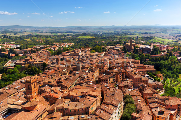 Siena, Italy panoramic rooftop city view. Tuscany region Stock photo © photocreo