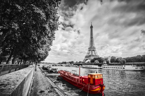 Tour Eiffel rivière Paris France vintage rouge Photo stock © photocreo